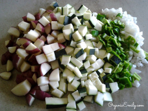 Chopped Fresh Vegetables for Quiche