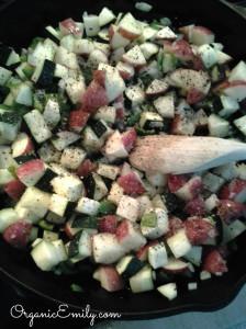 Saute Garden Vegetables for Quiche