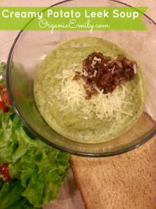 Potato Leek Soup with Crispy Shallots and Parmesan