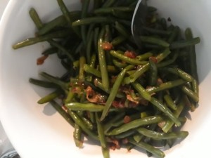 French green beans with caramalized onions